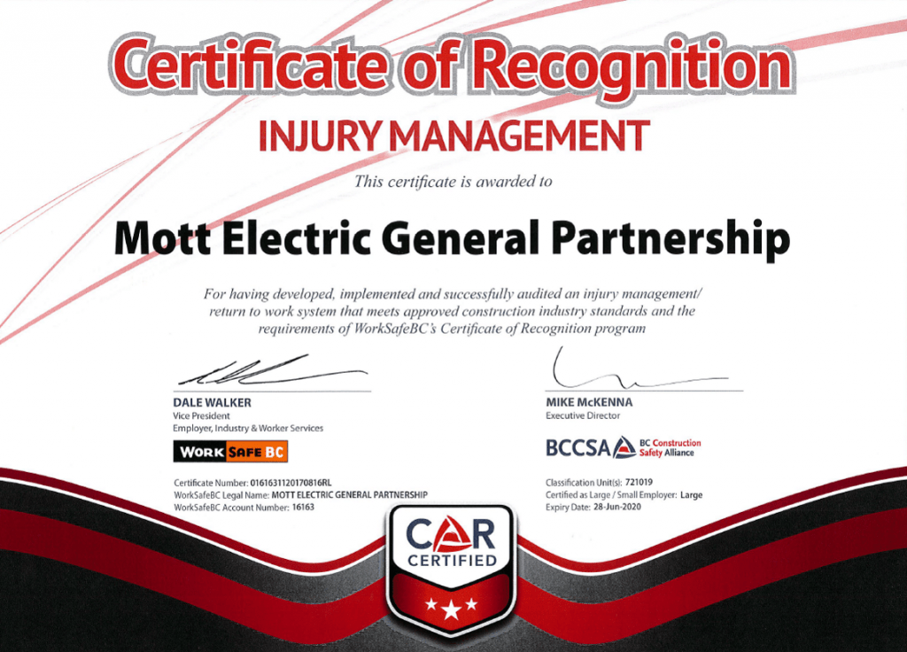 Certification of Recognition Injury